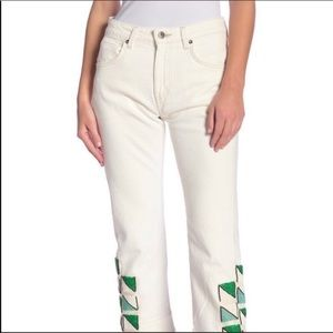 Levi's made & crafted white beaded boho jeans 27/4